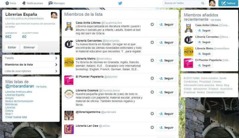 Librerías twitteras españa